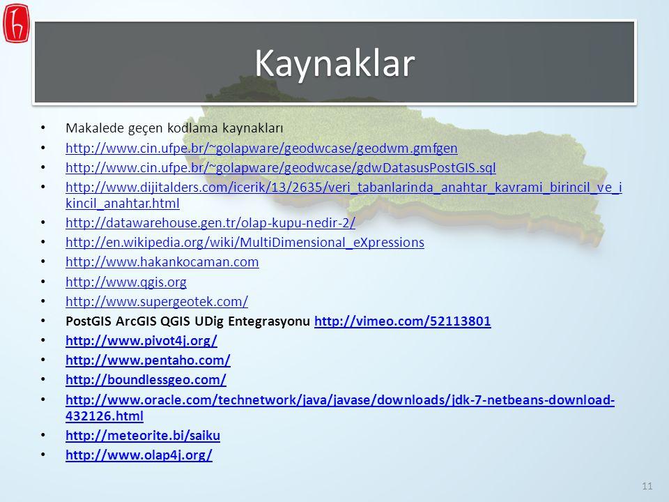 Kaynaklar Makalede geçen kodlama kaynakları http://www.cin.ufpe.br/~golapware/geodwcase/geodwm.gmfgen http://www.cin.ufpe.br/~golapware/geodwcase/gdwD