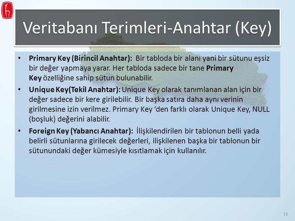 Primary Key (Birincil Anahtar): Bir tabloda bir alanı yani bir sütunu eşsiz bir değer yapmaya yarar. Her tabloda sadece bir tane Primary Key özelliğin