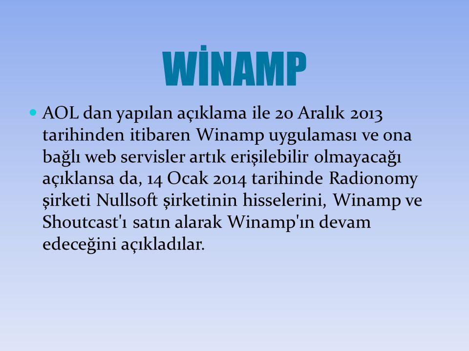 WİNAMP AOL dan yapılan açıklama ile 20 Aralık 2013 tarihinden itibaren Winamp uygulaması ve ona bağlı web servisler artık erişilebilir olmayacağı açıklansa da, 14 Ocak 2014 tarihinde Radionomy şirketi Nullsoft şirketinin hisselerini, Winamp ve Shoutcast ı satın alarak Winamp ın devam edeceğini açıkladılar.