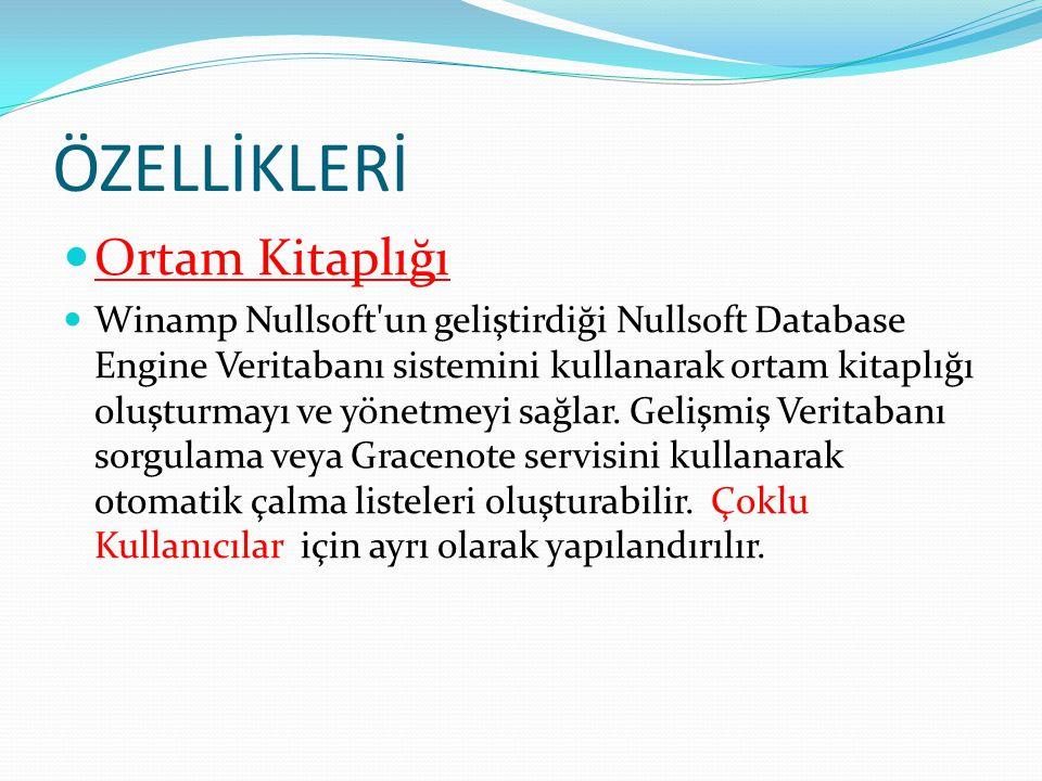 ÖZELLİKLERİ Ortam Kitaplığı Winamp Nullsoft un geliştirdiği Nullsoft Database Engine Veritabanı sistemini kullanarak ortam kitaplığı oluşturmayı ve yönetmeyi sağlar.