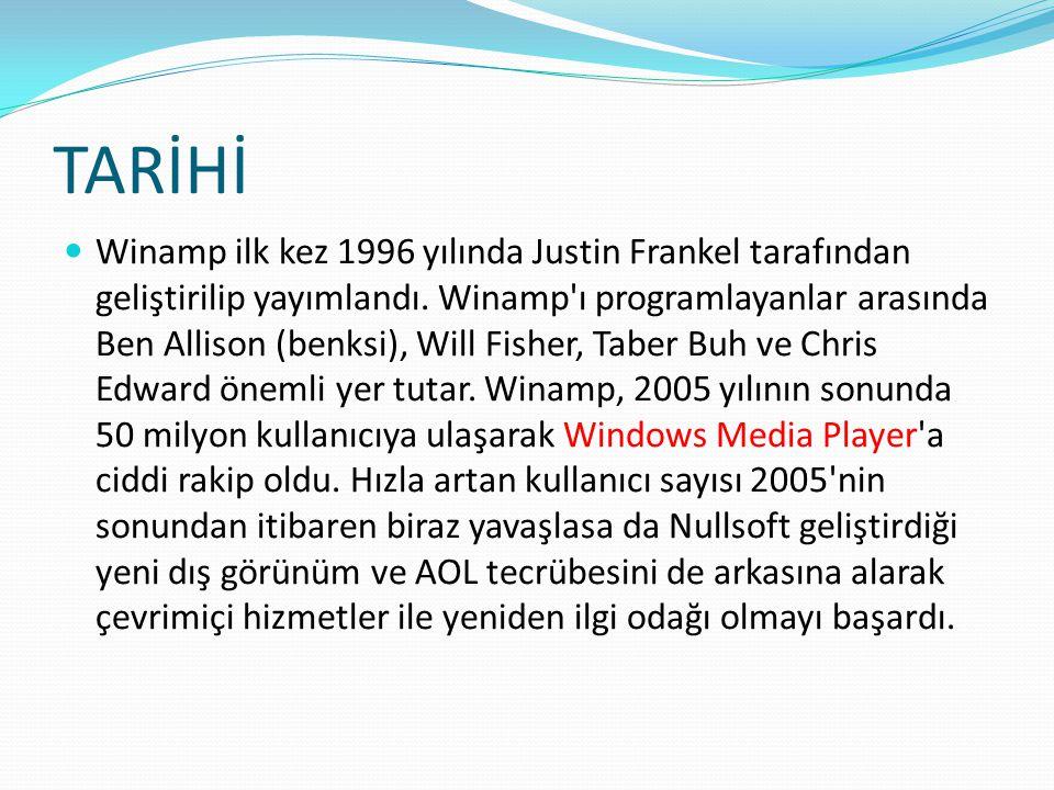 TARİHİ Winamp ilk kez 1996 yılında Justin Frankel tarafından geliştirilip yayımlandı.