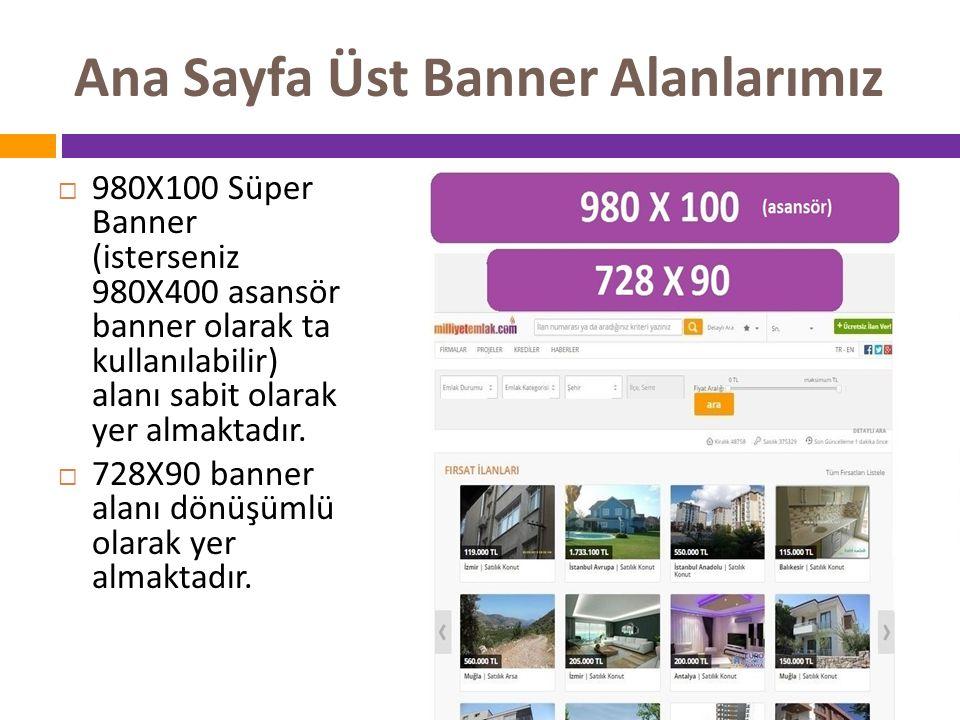 Ana Sayfa Üst Banner Alanlarımız  980X100 Süper Banner (isterseniz 980X400 asansör banner olarak ta kullanılabilir) alanı sabit olarak yer almaktadır