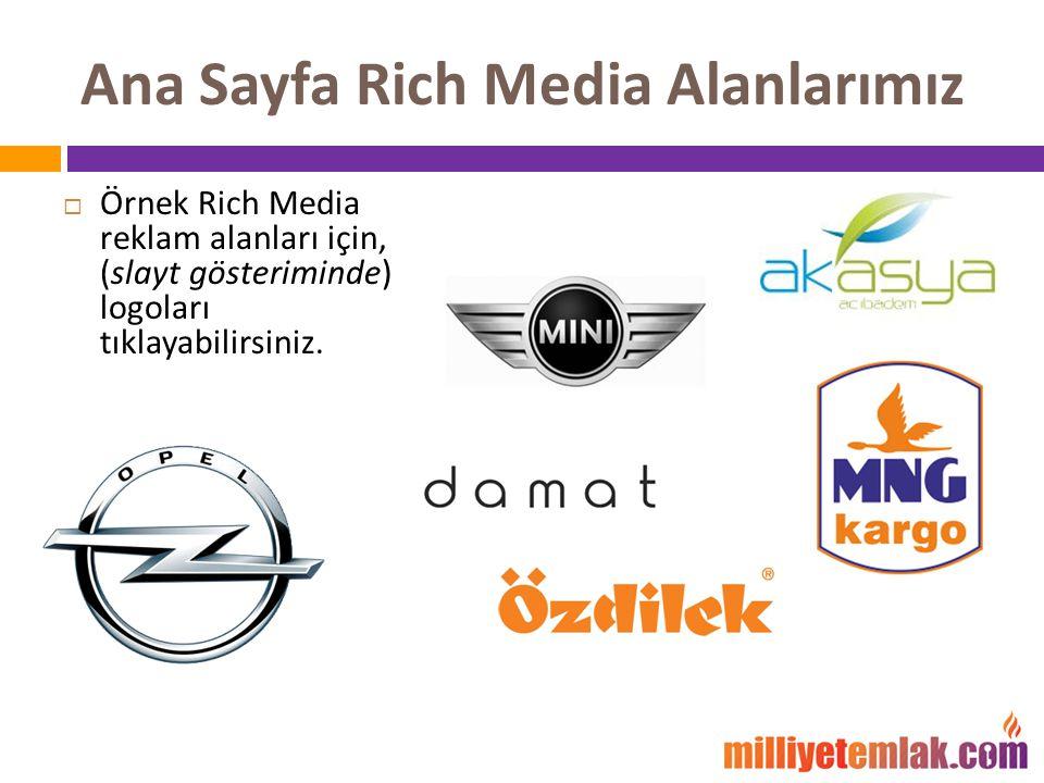 Ana Sayfa Rich Media Alanlarımız  Örnek Rich Media reklam alanları için, (slayt gösteriminde) logoları tıklayabilirsiniz.