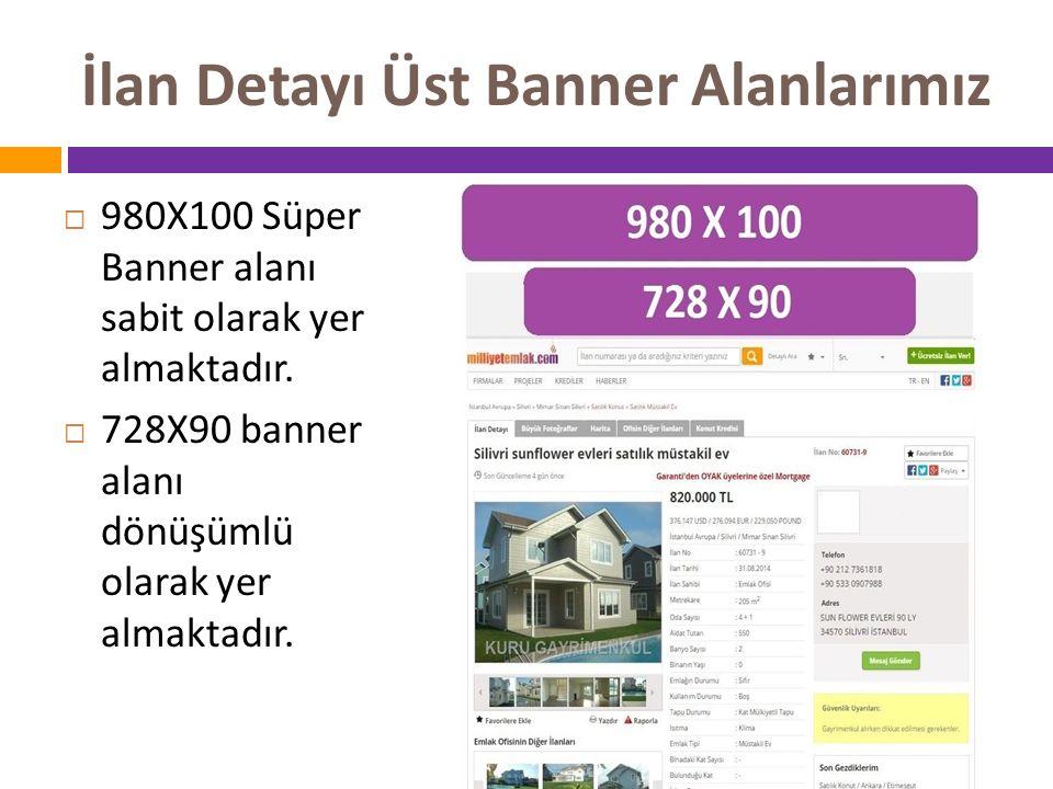 İlan Detayı Üst Banner Alanlarımız  980X100 Süper Banner alanı sabit olarak yer almaktadır.  728X90 banner alanı dönüşümlü olarak yer almaktadır.