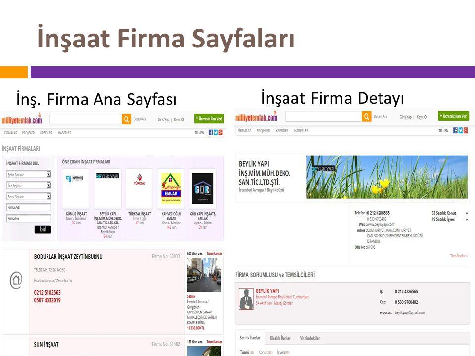 İnşaat Firma Sayfaları İnş. Firma Ana Sayfası İnşaat Firma Detayı
