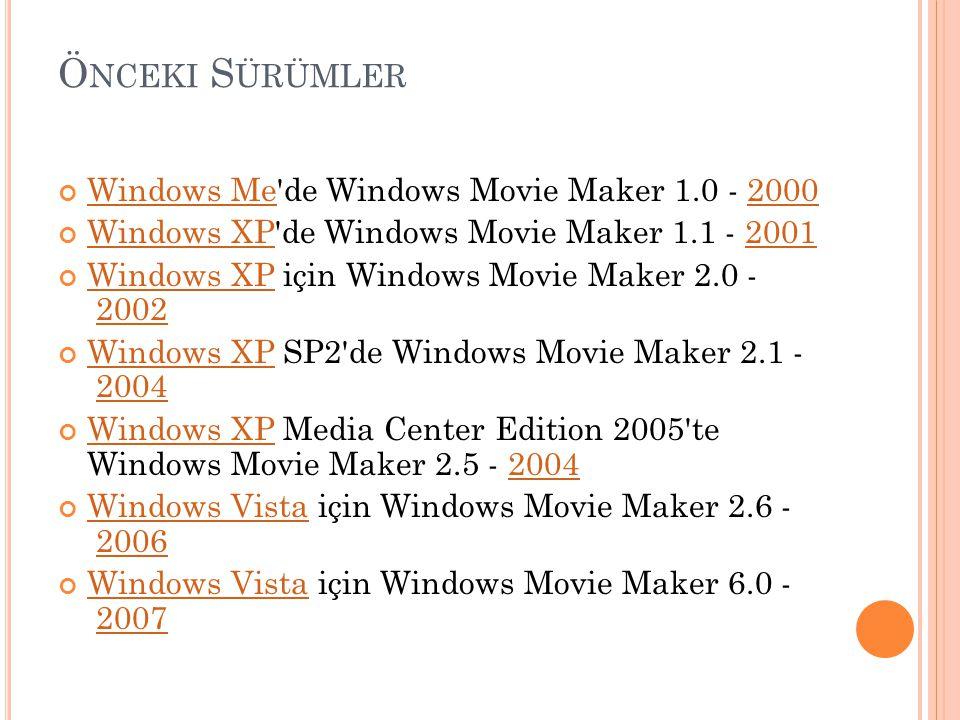 Ö NCEKI S ÜRÜMLER Windows MeWindows Me'de Windows Movie Maker 1.0 - 20002000 Windows XPWindows XP'de Windows Movie Maker 1.1 - 20012001 Windows XPWind