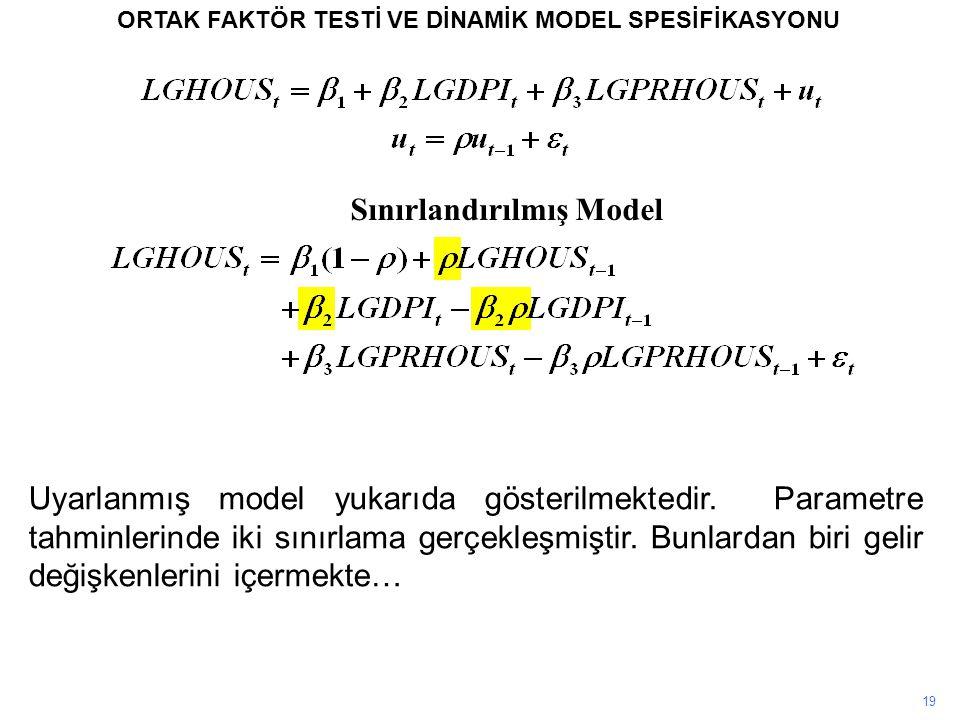 19 ORTAK FAKTÖR TESTİ VE DİNAMİK MODEL SPESİFİKASYONU Sınırlandırılmış Model Uyarlanmış model yukarıda gösterilmektedir. Parametre tahminlerinde iki s