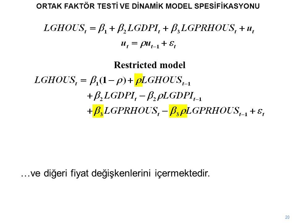 20 ORTAK FAKTÖR TESTİ VE DİNAMİK MODEL SPESİFİKASYONU Restricted model …ve diğeri fiyat değişkenlerini içermektedir.
