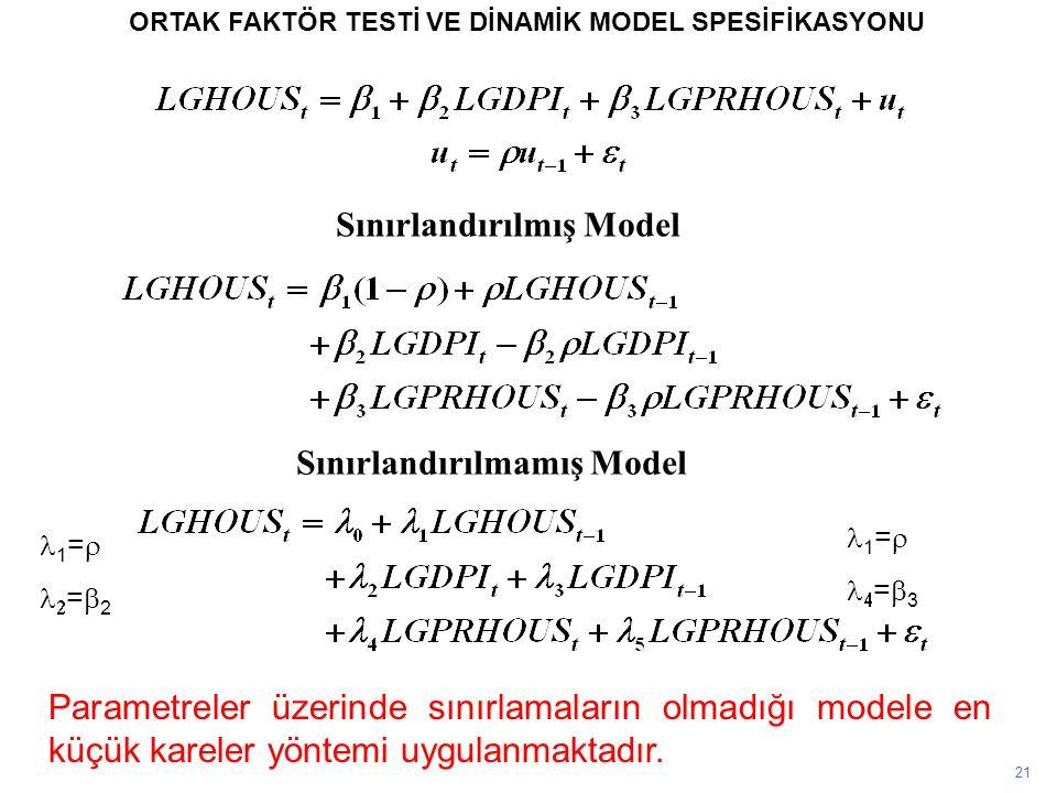 21 ORTAK FAKTÖR TESTİ VE DİNAMİK MODEL SPESİFİKASYONU Parametreler üzerinde sınırlamaların olmadığı modele en küçük kareler yöntemi uygulanmaktadır. S