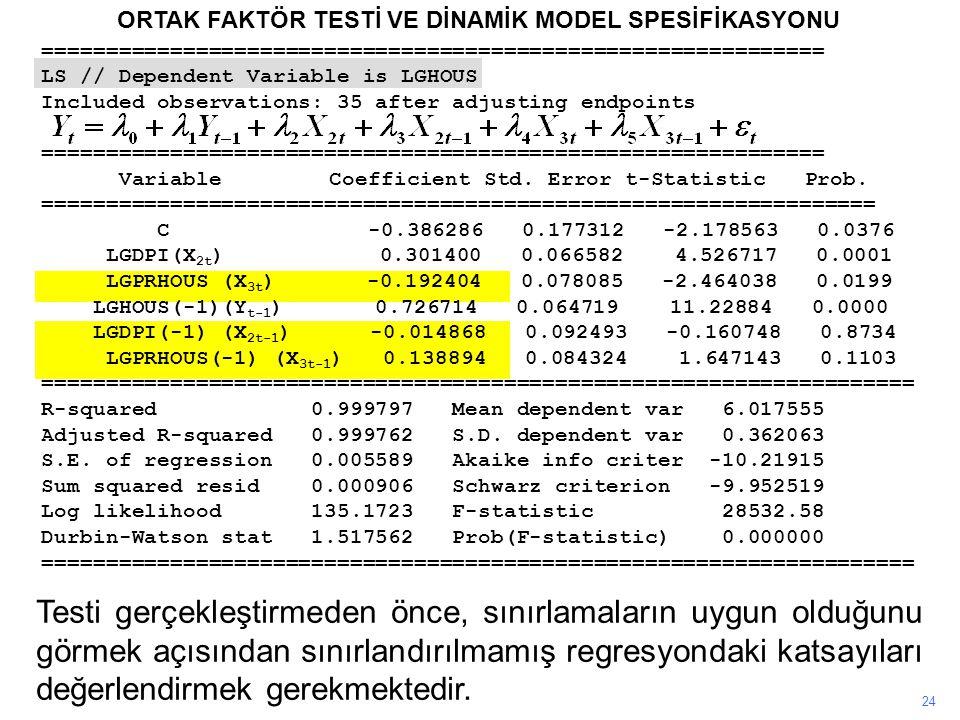 24 ORTAK FAKTÖR TESTİ VE DİNAMİK MODEL SPESİFİKASYONU Testi gerçekleştirmeden önce, sınırlamaların uygun olduğunu görmek açısından sınırlandırılmamış