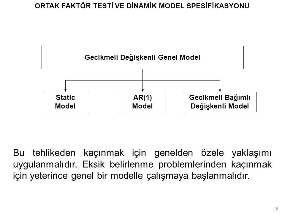 40 ORTAK FAKTÖR TESTİ VE DİNAMİK MODEL SPESİFİKASYONU Gecikmeli Değişkenli Genel Model Static Model AR(1) Model Gecikmeli Bağımlı Değişkenli Model Bu