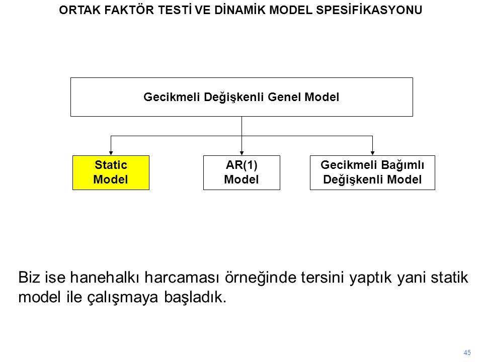 45 ORTAK FAKTÖR TESTİ VE DİNAMİK MODEL SPESİFİKASYONU Gecikmeli Değişkenli Genel Model Static Model AR(1) Model Gecikmeli Bağımlı Değişkenli Model Biz