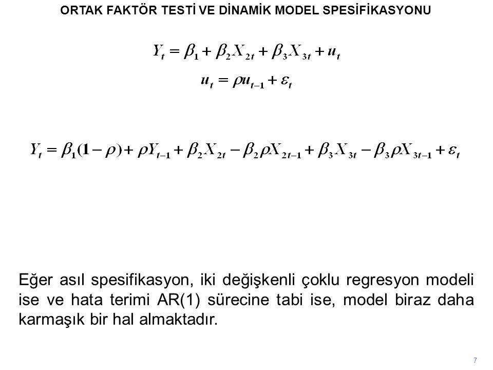 7 ORTAK FAKTÖR TESTİ VE DİNAMİK MODEL SPESİFİKASYONU Eğer asıl spesifikasyon, iki değişkenli çoklu regresyon modeli ise ve hata terimi AR(1) sürecine