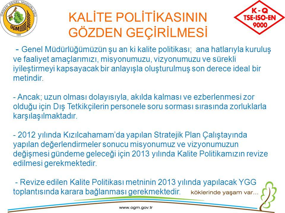 KALİTE POLİTİKASININ GÖZDEN GEÇİRİLMESİ - Genel Müdürlüğümüzün şu an ki kalite politikası; ana hatlarıyla kuruluş ve faaliyet amaçlarımızı, misyonumuz