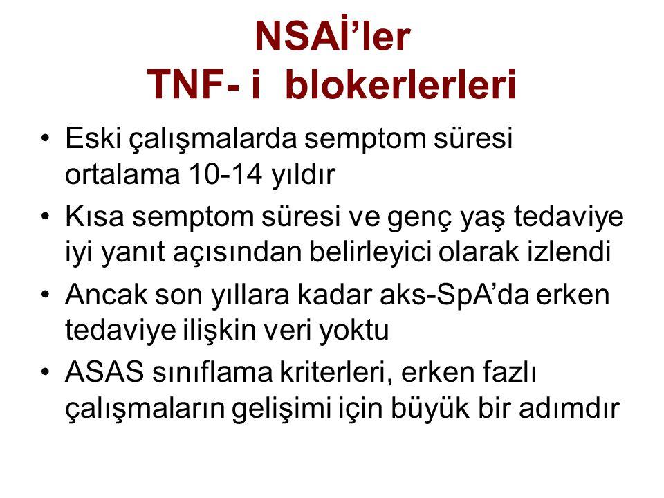 NSAİ'ler TNF- i blokerlerleri Eski çalışmalarda semptom süresi ortalama 10-14 yıldır Kısa semptom süresi ve genç yaş tedaviye iyi yanıt açısından beli
