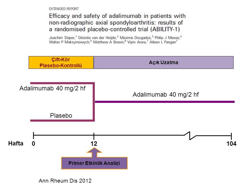 Adalimumab 40 mg/2 hf Plasebo Hafta Açık Uzatma Çift-Kör Plasebo-Kontrollü Adalimumab 40 mg/2 hf 012104 Primer Etkinlik Analizi Ann Rheum Dis 2012