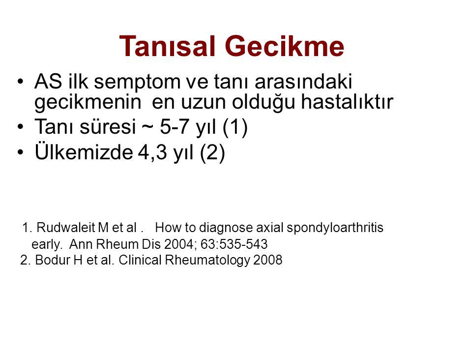 Tanısal Gecikme AS ilk semptom ve tanı arasındaki gecikmenin en uzun olduğu hastalıktır Tanı süresi ~ 5-7 yıl (1) Ülkemizde 4,3 yıl (2) 1. Rudwaleit M