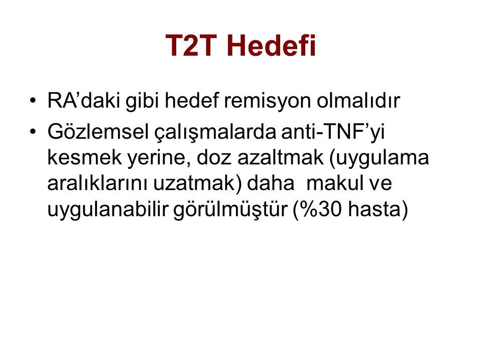 T2T Hedefi RA'daki gibi hedef remisyon olmalıdır Gözlemsel çalışmalarda anti-TNF'yi kesmek yerine, doz azaltmak (uygulama aralıklarını uzatmak) daha m