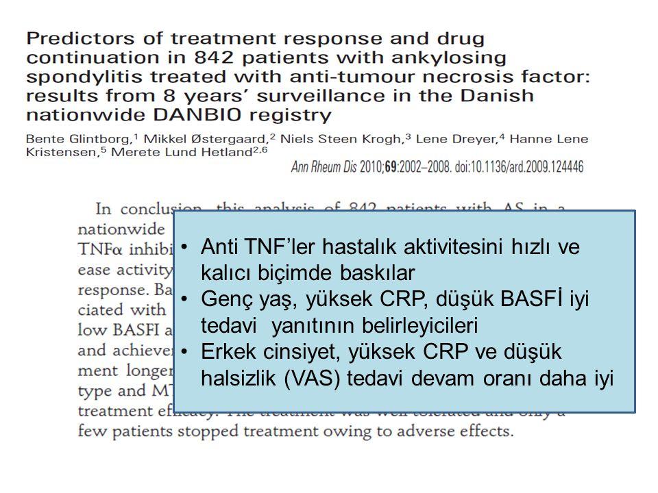 Anti TNF'ler hastalık aktivitesini hızlı ve kalıcı biçimde baskılar Genç yaş, yüksek CRP, düşük BASFİ iyi tedavi yanıtının belirleyicileri Erkek cinsi