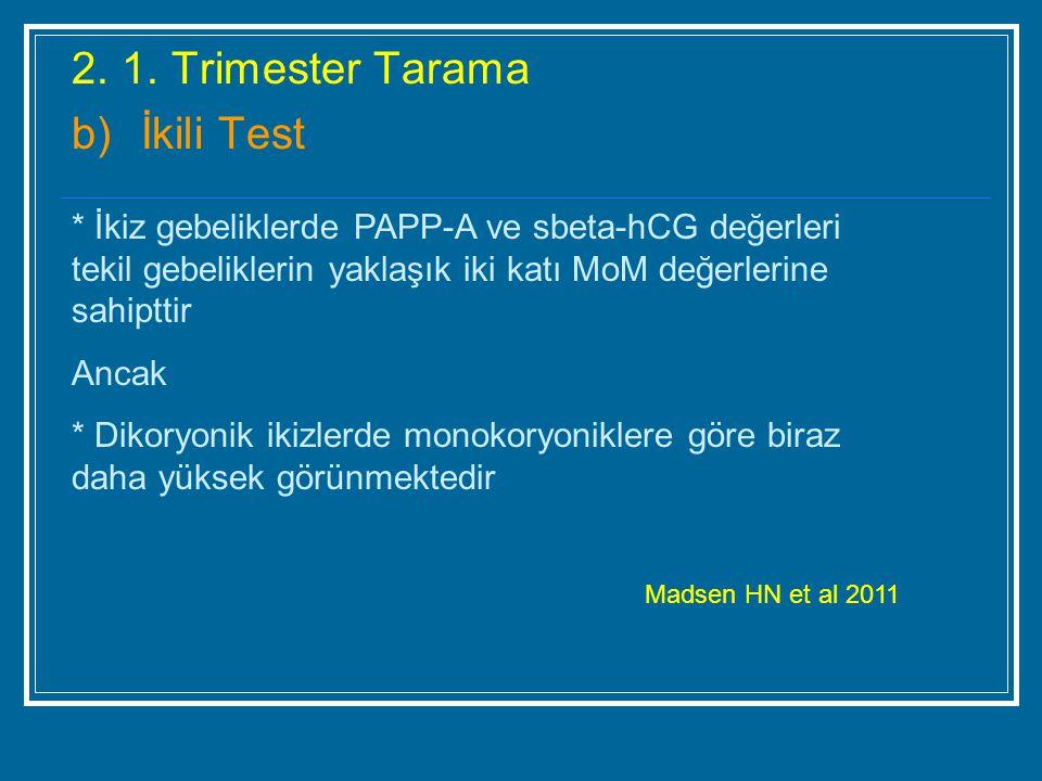 2. 1. Trimester Tarama b)İkili Test * İkiz gebeliklerde PAPP-A ve sbeta-hCG değerleri tekil gebeliklerin yaklaşık iki katı MoM değerlerine sahipttir A