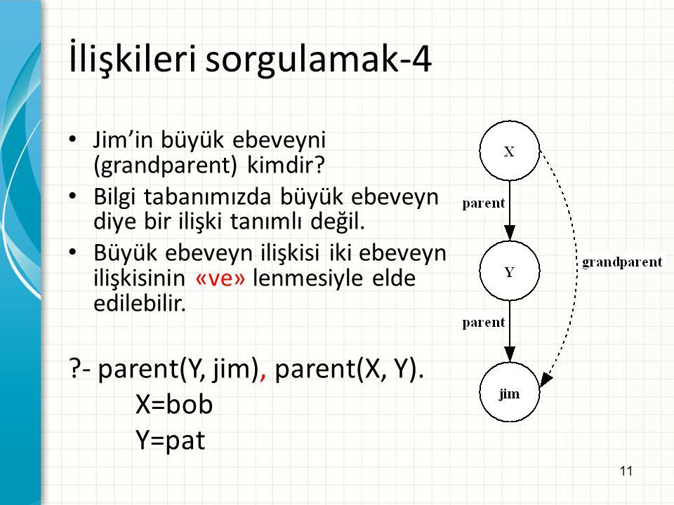 11 İlişkileri sorgulamak-4 Jim'in büyük ebeveyni (grandparent) kimdir? Bilgi tabanımızda büyük ebeveyn diye bir ilişki tanımlı değil. Büyük ebeveyn il