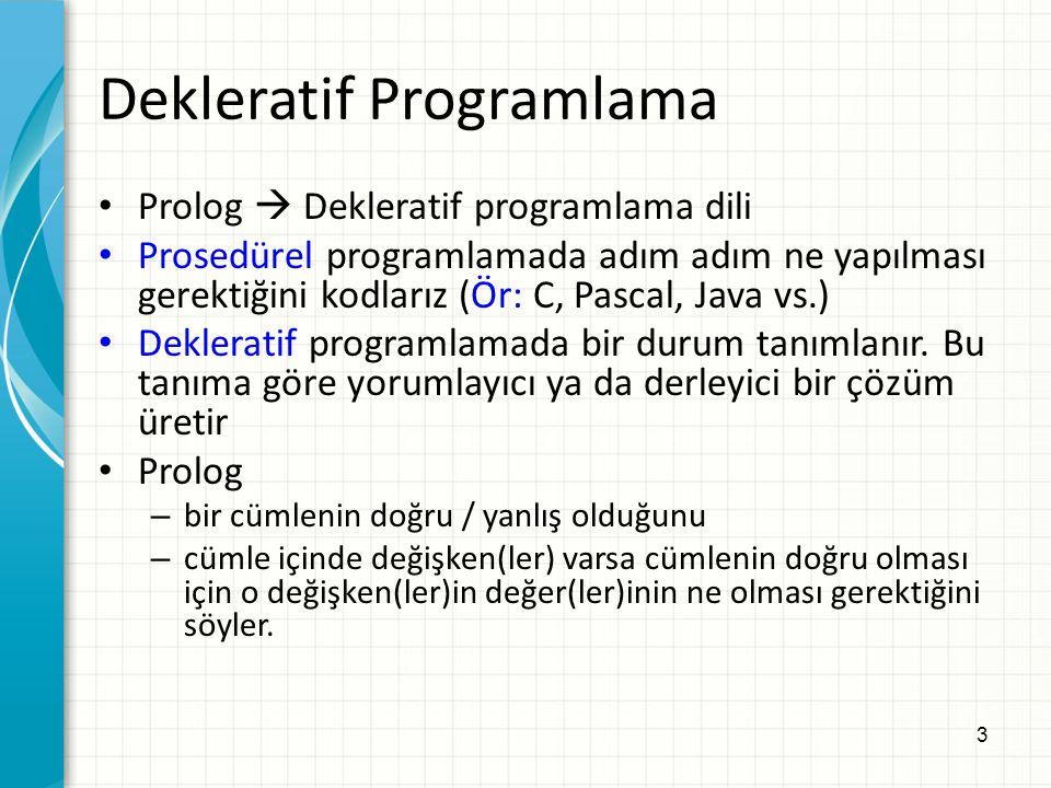 3 Dekleratif Programlama Prolog  Dekleratif programlama dili Prosedürel programlamada adım adım ne yapılması gerektiğini kodlarız (Ör: C, Pascal, Jav