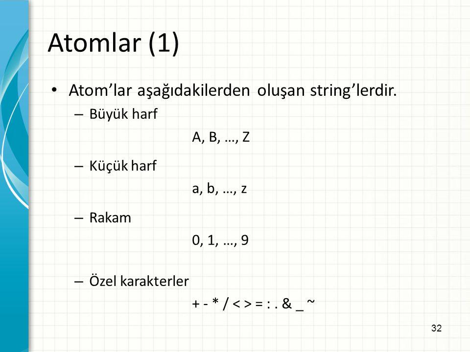 32 Atomlar (1) Atom'lar aşağıdakilerden oluşan string'lerdir. – Büyük harf A, B, …, Z – Küçük harf a, b, …, z – Rakam 0, 1, …, 9 – Özel karakterler +