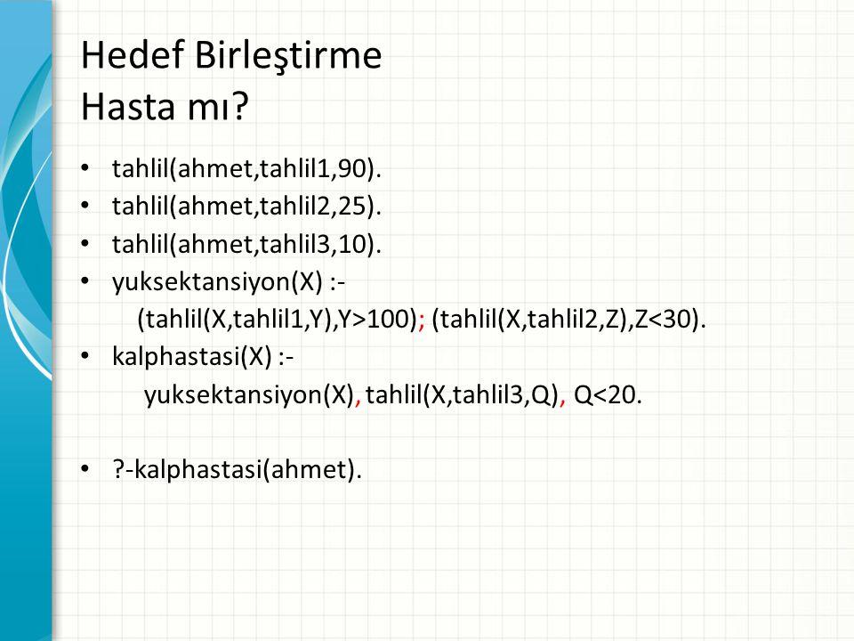 Hedef Birleştirme Hasta mı? tahlil(ahmet,tahlil1,90). tahlil(ahmet,tahlil2,25). tahlil(ahmet,tahlil3,10). yuksektansiyon(X) :- (tahlil(X,tahlil1,Y),Y>