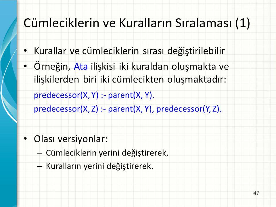 47 Cümleciklerin ve Kuralların Sıralaması (1) Kurallar ve cümleciklerin sırası değiştirilebilir Örneğin, Ata ilişkisi iki kuraldan oluşmakta ve ilişki