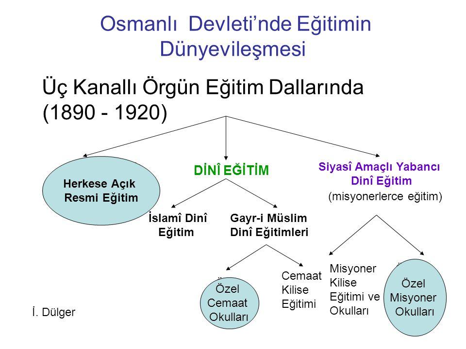 Osmanlı Devleti'nde Eğitimin Dünyevileşmesi Üç Kanallı Örgün Eğitim Dallarında (1890 - 1920) Herkese Açık Resmî Eğitim (demokratik) DİNÎ EĞİTİM Siyasî