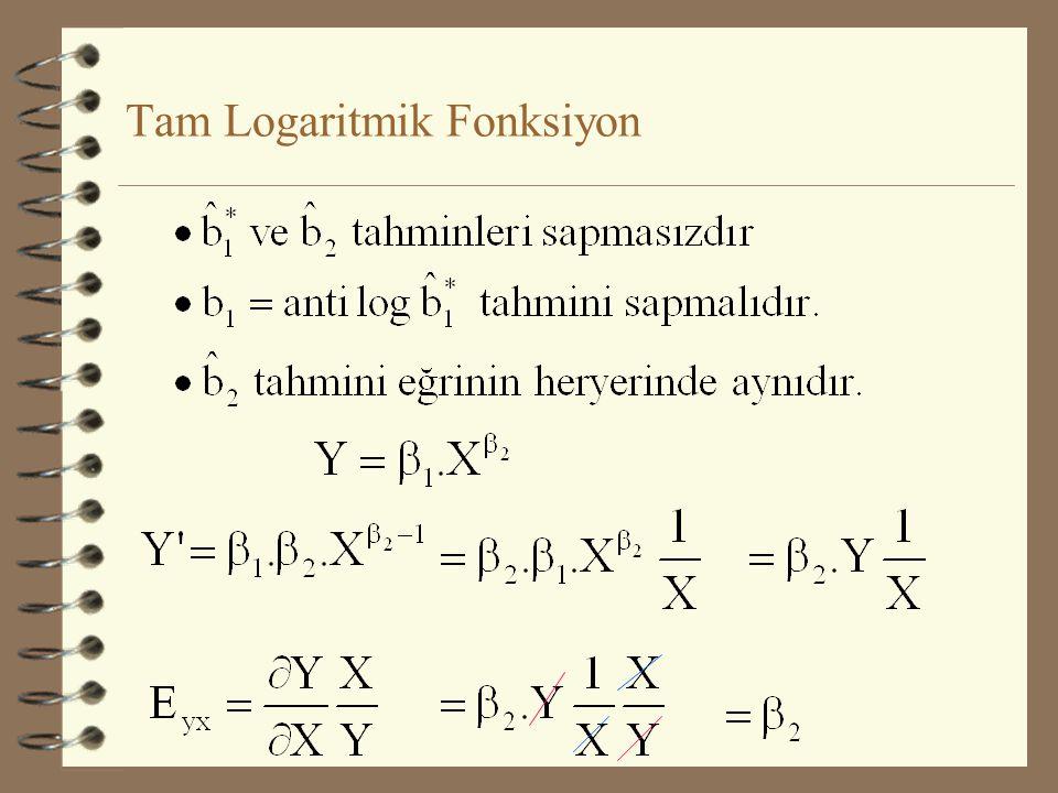 lnY =ln  1 +  2 lnX 2 +  3 lnX 3 +... +  k lnX k + u lne Y * =  1 * +  2 X 2 * +  3 X 3 * +... +  k X k * + u Tam Logaritmik Fonksiyon