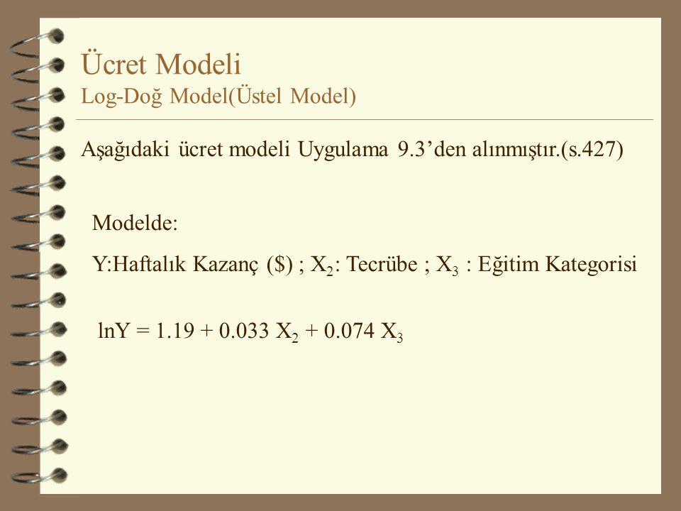 Artış Hızı Modeli Log-Doğ Model(Üstel Model) lnY = b 1 +b 2 t + u r = (Antilog b 2 - 1). 100 Y= İş hacmi(1983-1988) r = (Antilog 0.131 - 1). 100 = (1.