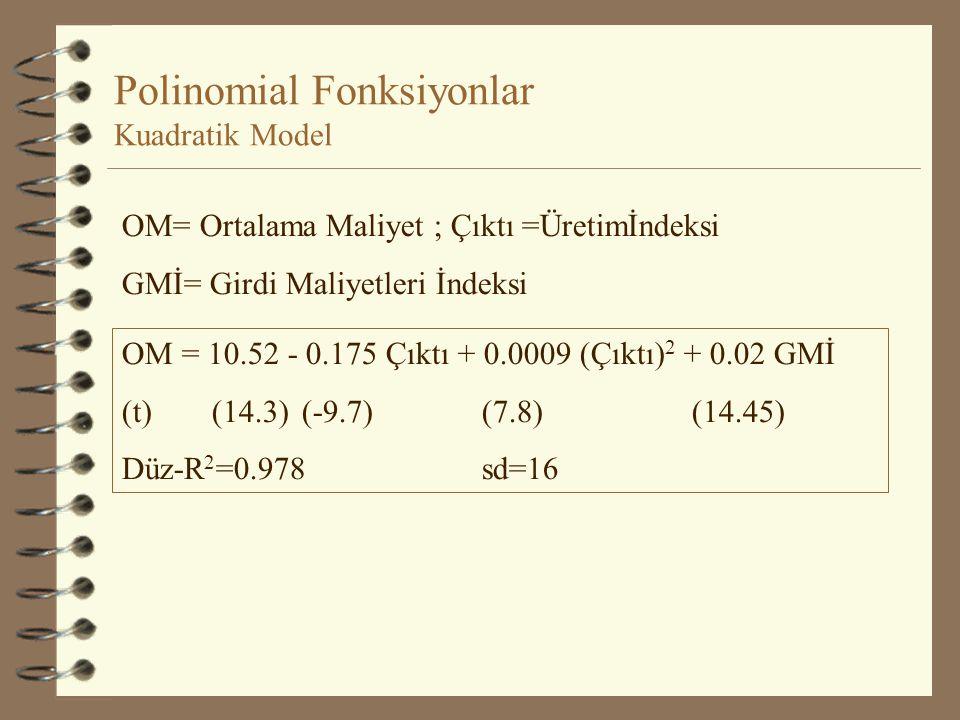 Polinomial Fonksiyonlar Y =  1 +  2 X +  3 X 2 +  4 X 3 +... +  k+1 X k + u Kuadratik Model: Y =  1 +  2 X +  3 X 2 + u =  2 + 2  3 X= 