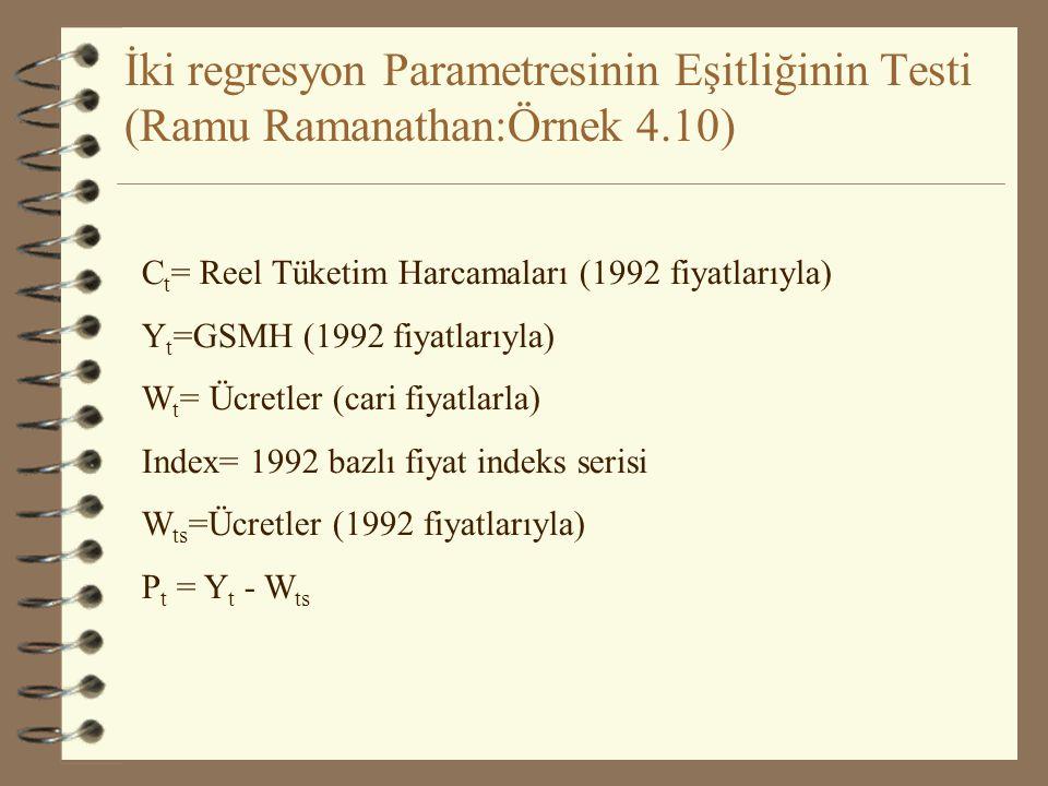 İki regresyon Parametresinin Eşitliğinin Testi (s.293-294) 1.Aşama H 0 :  4 =  5 H 1 :  4   5 2.Aşama  = ? t ,sd =? 3.Aşama 4.Aşama|t hes | > |