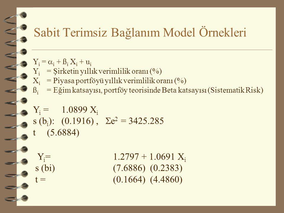 Sabit Terimsiz Bağlanım Model Örnekleri Y i =  i + ß i X i + u i Y i = Şirketin yıllık verimlilik oranı (%) X i = Piyasa portföyü yıllık verimlilik oranı (%) ß i = Eğim katsayısı, portföy teorisinde Beta katsayısı (Sistematik Risk) Y i = 1.0899 X i s (b i ): (0.1916),  e 2 = 3425.285 t (5.6884) Y i = 1.2797 + 1.0691 X i s (bi) (7.6886) (0.2383) t = (0.1664) (4.4860)