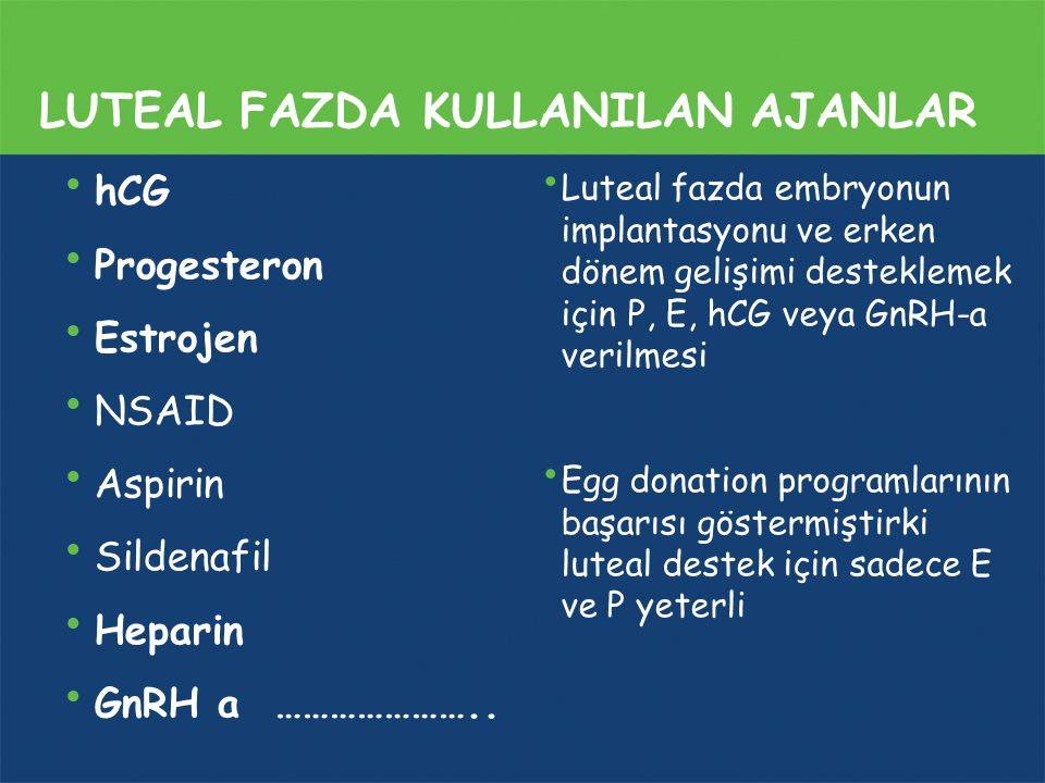 LUTEAL FAZDA KULLANILAN AJANLAR hCG Progesteron Estrojen NSAID Aspirin Sildenafil Heparin GnRH a ………………….. Luteal fazda embryonun implantasyonu ve erk