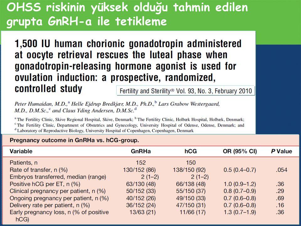 OHSS riskinin yüksek olduğu tahmin edilen grupta GnRH-a ile tetikleme