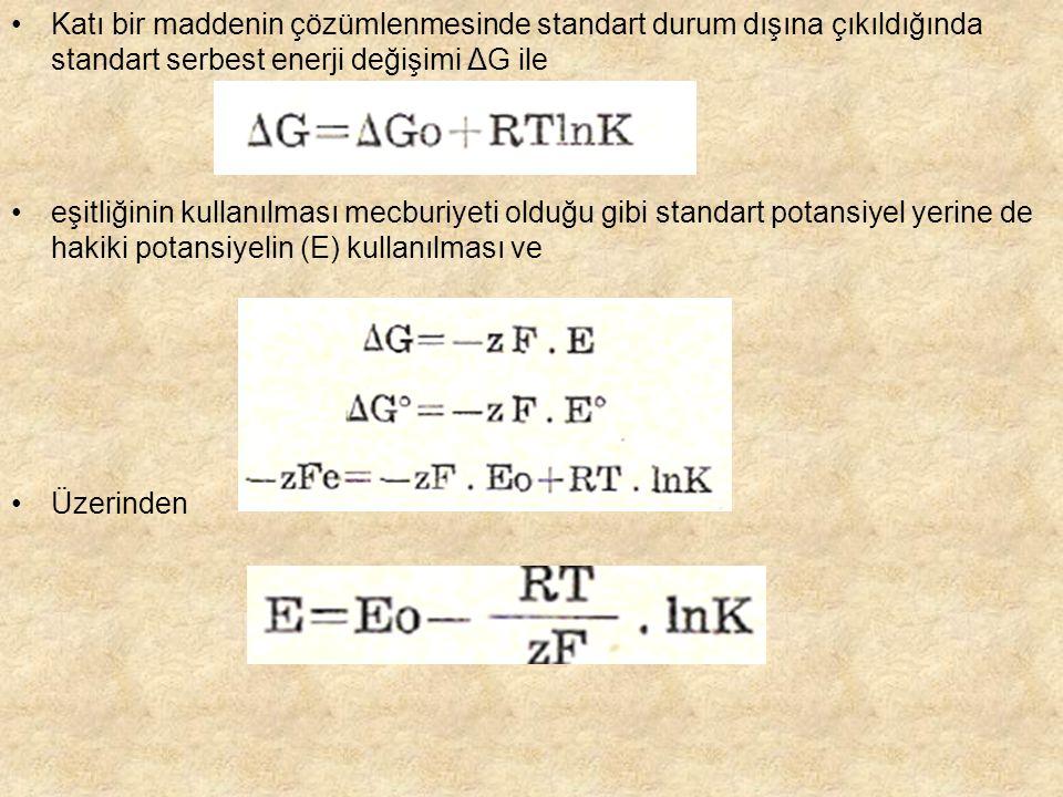 Katı bir maddenin çözümlenmesinde standart durum dışına çıkıldığında standart serbest enerji değişimi ΔG ile eşitliğinin kullanılması mecburiyeti olduğu gibi standart potansiyel yerine de hakiki potansiyelin (E) kullanılması ve Üzerinden
