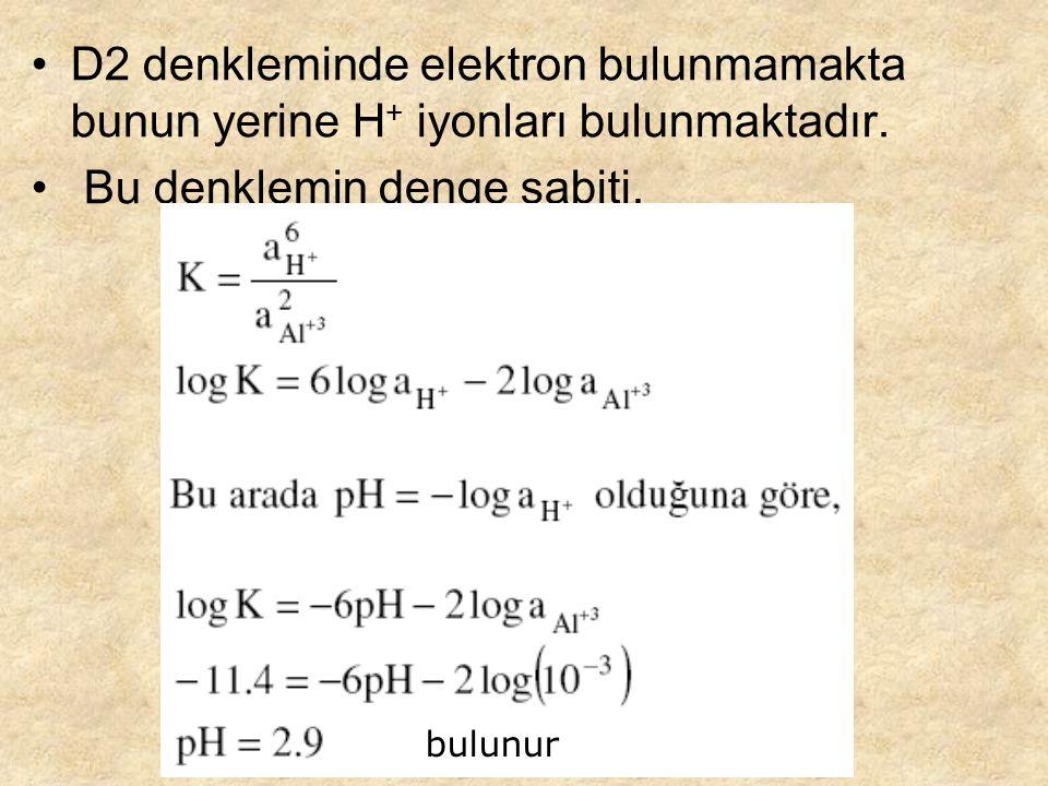 D2 denkleminde elektron bulunmamakta bunun yerine H + iyonları bulunmaktadır.