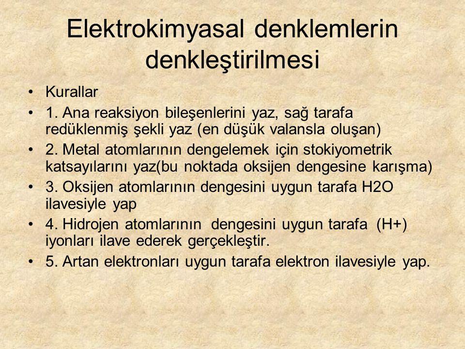 Elektrokimyasal denklemlerin denkleştirilmesi Kurallar 1.