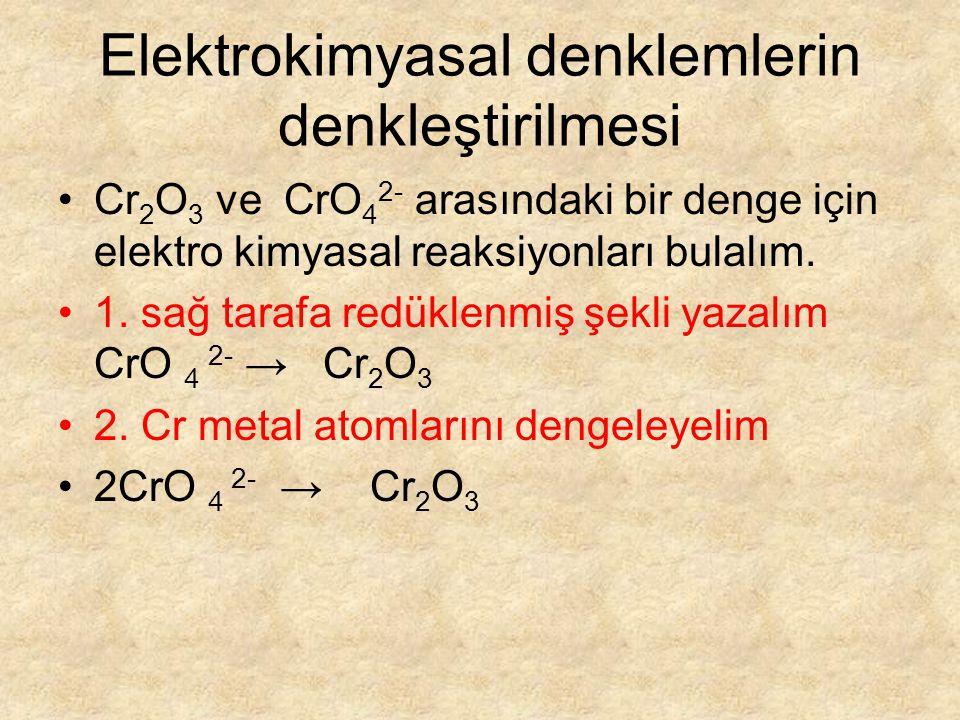 Elektrokimyasal denklemlerin denkleştirilmesi Cr 2 O 3 ve CrO 4 2- arasındaki bir denge için elektro kimyasal reaksiyonları bulalım.