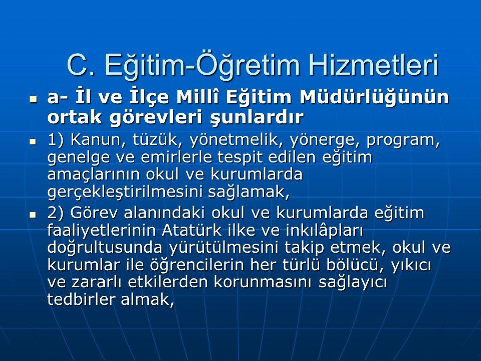 3) Türk dili, Türk tarihi, Türk kültürü ve güzel sanatlar alanındaki çalışmalar ile yakından ilgilenerek, çalışmaların faydalı bir şekilde yürütülmesini sağlamak, 3) Türk dili, Türk tarihi, Türk kültürü ve güzel sanatlar alanındaki çalışmalar ile yakından ilgilenerek, çalışmaların faydalı bir şekilde yürütülmesini sağlamak, 4) Eğitim ve öğretim kurumlarında öğrencilerin bilgi seviyesini yükseltmek ve verimi artırmak için gerekli tedbirleri almak, 4) Eğitim ve öğretim kurumlarında öğrencilerin bilgi seviyesini yükseltmek ve verimi artırmak için gerekli tedbirleri almak, 5) Öğrencileri ve gençleri kumar, içki, sigara, uyuşturucu maddeler ve yasaklanmış yayınlardan korumak için gerekli tedbirleri almak ve dikkate değer görülen durumları ilgili makamlara bildirmek, 5) Öğrencileri ve gençleri kumar, içki, sigara, uyuşturucu maddeler ve yasaklanmış yayınlardan korumak için gerekli tedbirleri almak ve dikkate değer görülen durumları ilgili makamlara bildirmek, 6) Öğretim yılı başında ve sonunda görev alanında bulunan okul ve kurumlardaki yönetici ve öğretmenlerle toplantılar düzenlemek, bu toplantılarda okul ve kurumların huzurlu ve verimli çalışması için gerekli programları hazırlamak, çalışmaları değerlendirmek, 6) Öğretim yılı başında ve sonunda görev alanında bulunan okul ve kurumlardaki yönetici ve öğretmenlerle toplantılar düzenlemek, bu toplantılarda okul ve kurumların huzurlu ve verimli çalışması için gerekli programları hazırlamak, çalışmaları değerlendirmek,