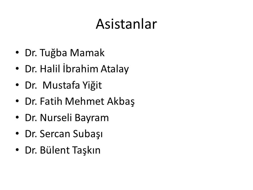 Asistanlar Dr. Tuğba Mamak Dr. Halil İbrahim Atalay Dr. Mustafa Yiğit Dr. Fatih Mehmet Akbaş Dr. Nurseli Bayram Dr. Sercan Subaşı Dr. Bülent Taşkın