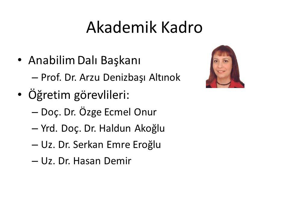 Akademik Kadro Anabilim Dalı Başkanı – Prof. Dr. Arzu Denizbaşı Altınok Öğretim görevlileri: – Doç. Dr. Özge Ecmel Onur – Yrd. Doç. Dr. Haldun Akoğlu
