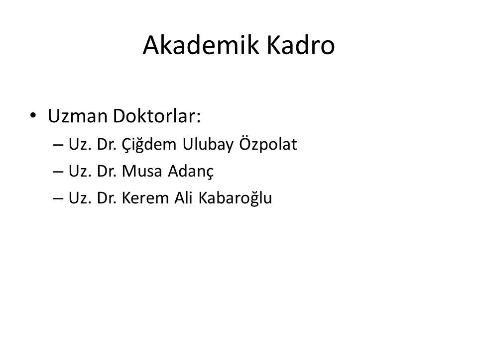 Akademik Kadro Uzman Doktorlar: – Uz. Dr. Çiğdem Ulubay Özpolat – Uz. Dr. Musa Adanç – Uz. Dr. Kerem Ali Kabaroğlu