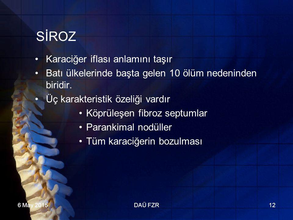 6 May 2015DAÜ FZR12 SİROZ Karaciğer iflası anlamını taşır Batı ülkelerinde başta gelen 10 ölüm nedeninden biridir.