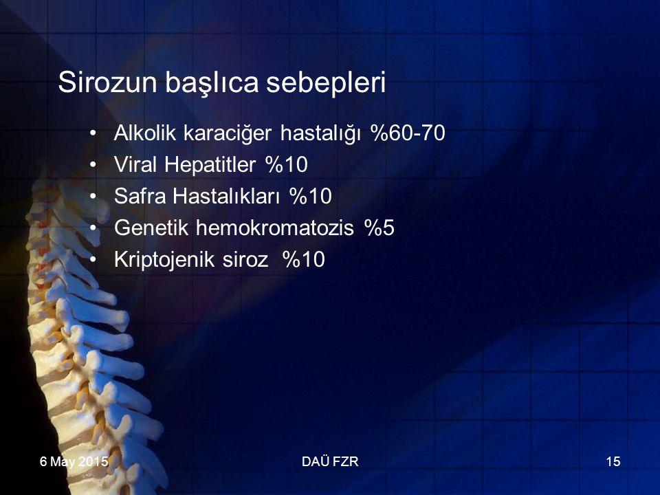 6 May 2015DAÜ FZR15 Sirozun başlıca sebepleri Alkolik karaciğer hastalığı %60-70 Viral Hepatitler %10 Safra Hastalıkları %10 Genetik hemokromatozis %5 Kriptojenik siroz %10