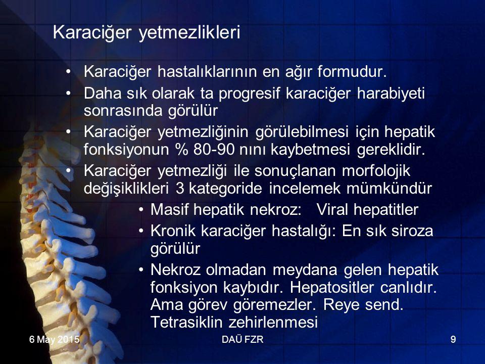 6 May 2015DAÜ FZR9 Karaciğer yetmezlikleri Karaciğer hastalıklarının en ağır formudur.