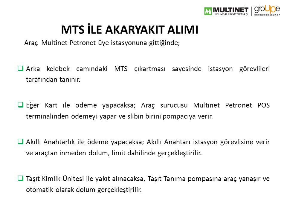 MTS İLE AKARYAKIT ALIMI Araç Multinet Petronet üye istasyonuna gittiğinde;  Arka kelebek camındaki MTS çıkartması sayesinde istasyon görevlileri tara