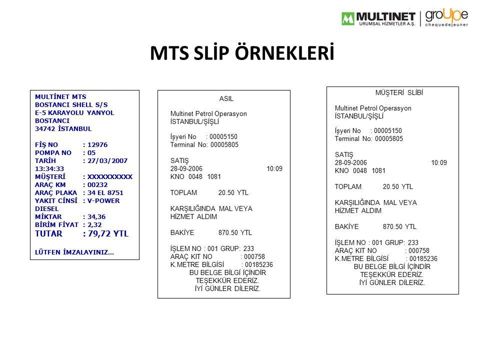 MTS SLİP ÖRNEKLERİ Multinet Petrol Operasyon İSTANBUL/ŞİŞLİ İşyeri No : 00005150 Terminal No: 00005805 SATIŞ 28-09-200610:09 KNO 0048 1081 TOPLAM20.50